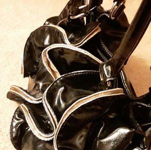 Ruffled black gold faux leather black purse